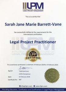Sarah Barrett Vane IILPM Legal Project Practitioner certificate