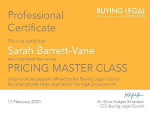 SBV Pricing Masterclass Certificate
